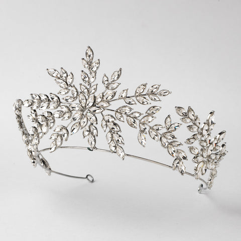Silver Clear Bridal Wedding Tiara Headpiece 1563