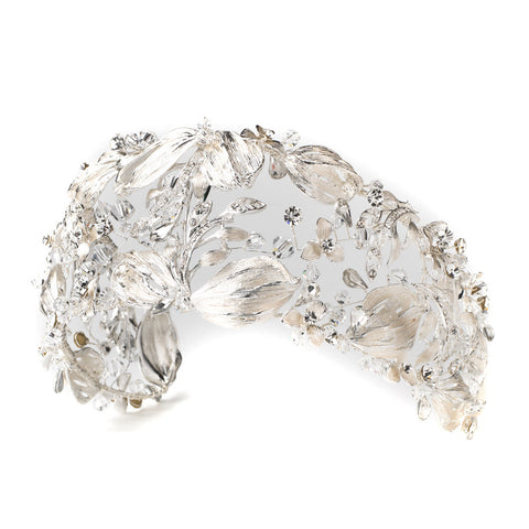 Silver Clear Swarovski Crystal Bead & Rhinestone Leaf Bridal Wedding Headband 1564