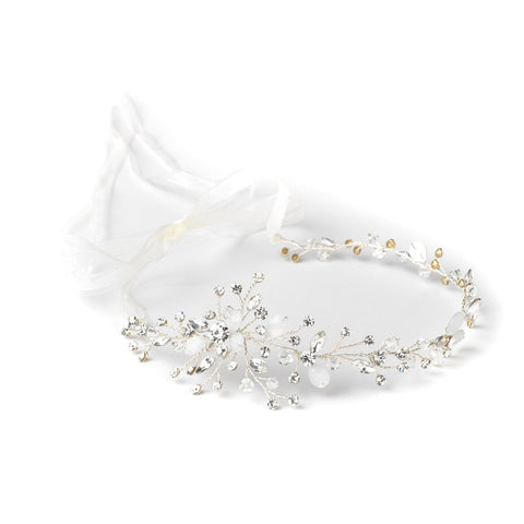 Silver Clear Side Accented Vine Bridal Wedding Organza Ribbon Accent Headband 1590