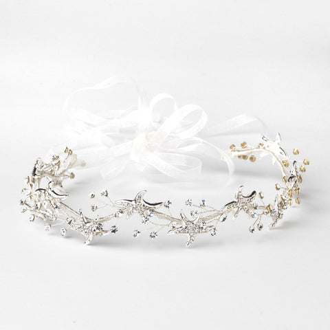 Silver Clear Starfish Rhinestone Bridal Wedding Headband 1591