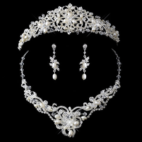 Silver Freshwater Pearl & Crystal Jewelry 7825 & Bridal Wedding Tiara 1810 Set