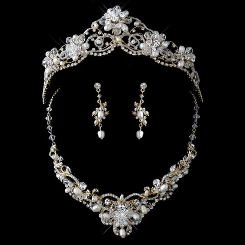 Gold Freshwater Pearl & Crystal Jewelry 7825 & Bridal Wedding Tiara 2596 Set