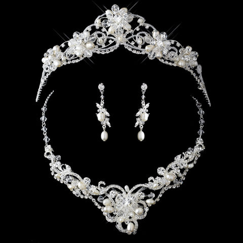 Silver Freshwater Pearl & Crystal Jewelry 7825 & Bridal Wedding Tiara 2596 Set