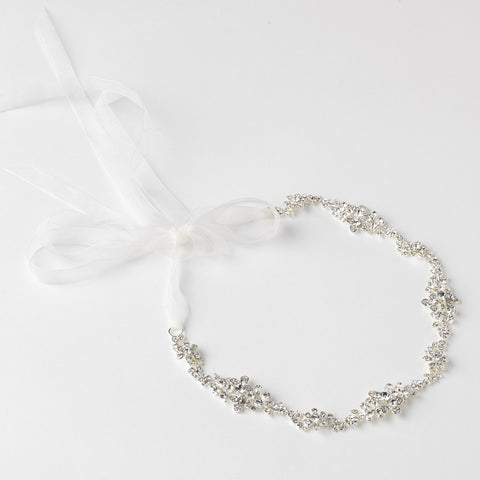 Silver Clear Rhinestone Bridal Wedding Ribbon Headband 3809