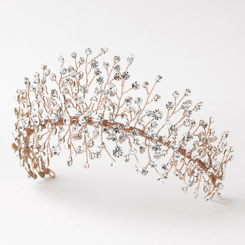 Rose Gold Clear Rhinestone Handmade Wired Bridal Wedding Tiara 6349