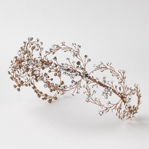 Rose Gold Clear Rhinestone Bridal Wedding Hair Vine Bridal Wedding Headband 6352