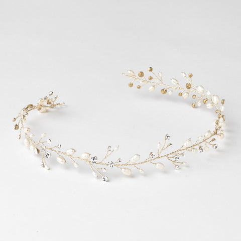 Gold Clear Rhinestone & Freshwater Pearl Vine Bridal Wedding Elastic Headband 6437