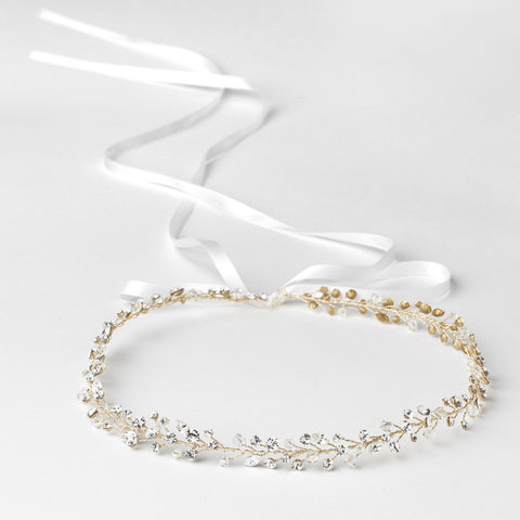 Light Gold Clear Rhinestone & Swarovski Crystal Bead Vine Ribbon Bridal Wedding Headband 6439