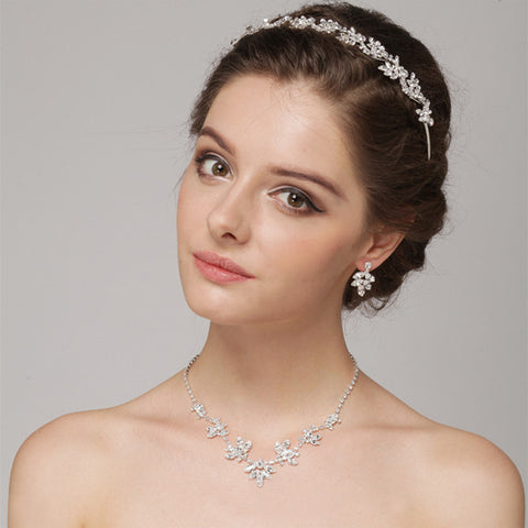 Crystal Bridal Wedding Necklace Earring Jewelry 7601 & Bridal Wedding Headband 7010 Set