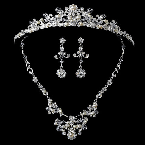 Silver Freshwater Pearl Jewelry 7500 & Bridal Wedding Tiara 7052 Set