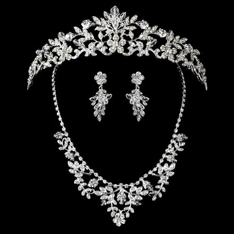Beautiful Swarovski Jewelry 7207 & Bridal Wedding Tiara 7061 Set