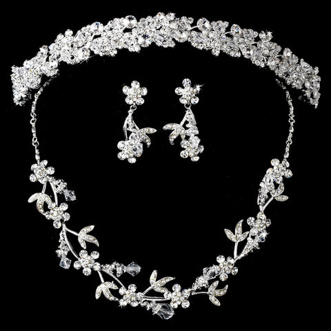 Silver Clear Swarovski Crystal & Rhinestone Jewelry & Bridal Wedding Headband 7095 Set