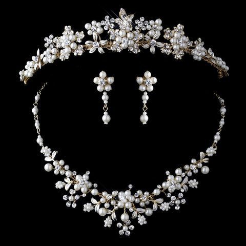 Beautiful Gold Ivory Pearl Bridal Wedding Jewelry 8001 & Bridal Wedding Tiara 8452 Set