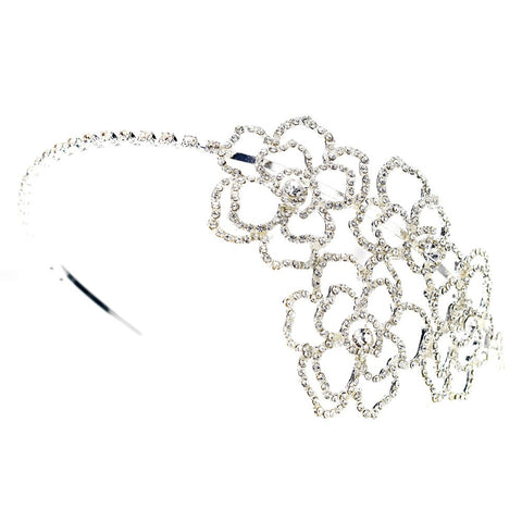 Silver Clear Rhinestone Flower Design Bridal Wedding Side Headband
