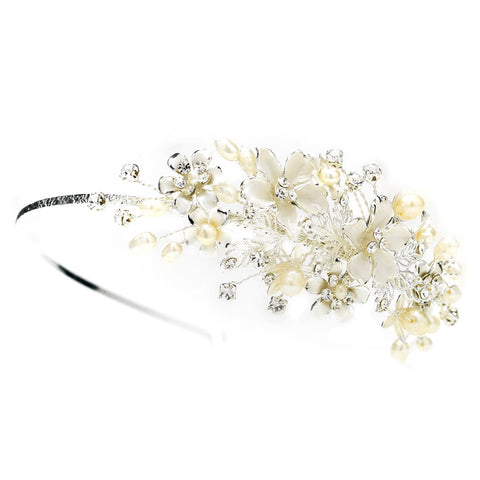 Silver Leaf & Ivory Petal Flower Bridal Wedding Side Headband with Freshwater Pearls & Rhinestones
