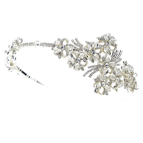 Silver Clear Rhinestone & Swarovski Crystal Bead Floral Bridal Wedding Side Headband