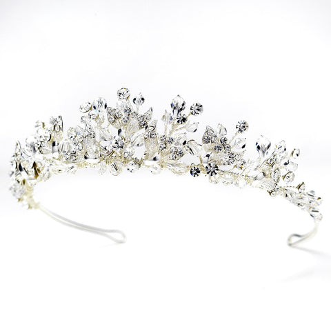 Silver Floral Bridal Wedding Tiara Headpiece with Rhinestones & Swarovski Crystal Beads