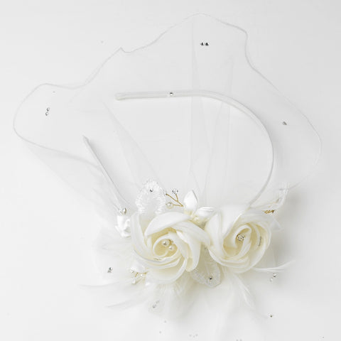 Ivory Tulle Matte Satin Feather Flower Bridal Wedding Side Headband with Pearl & Rhinestone Accents
