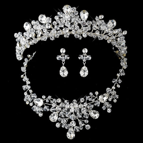 Enchanting Silver Clear Crystal Jewelry & Bridal Wedding Tiara Set 9786