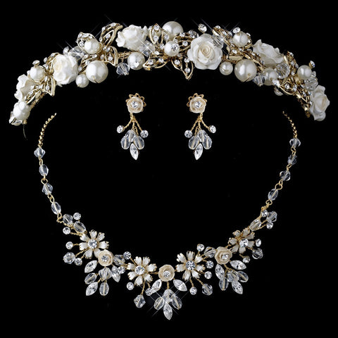 Gold Champagne Pearl & Swarovski Crystal Bead Ceramic Flower Bridal Wedding Headband 9842 & Jewelry 7305 Set