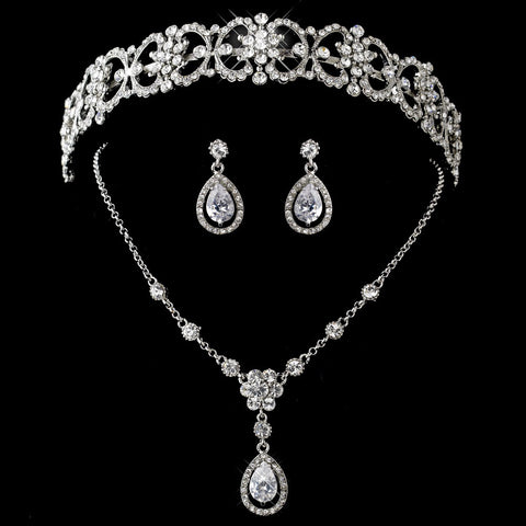 Antique Silver Clear Tear Drop CZ Stone Jewelry 8010 & Bridal Wedding Headband 9986 Set