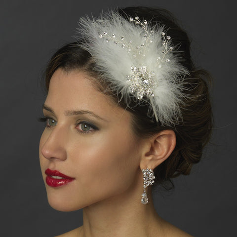 Silver Clear Gemstone Feather Fascinator Bridal Wedding Side Headband with Rhinestone Accents