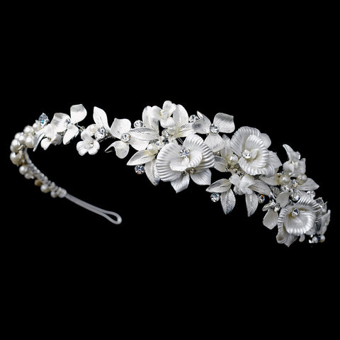 Silver Ivory Poly Resin Flower Bridal Wedding Side Headband with Rhinestone & Pearl Accents