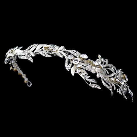 Silver Ivory Leaf Bridal Wedding Side Headband with Rhinestone Accents