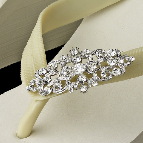 Art Deco Rhinestone High Wedge Bridal Wedding Flip Flops