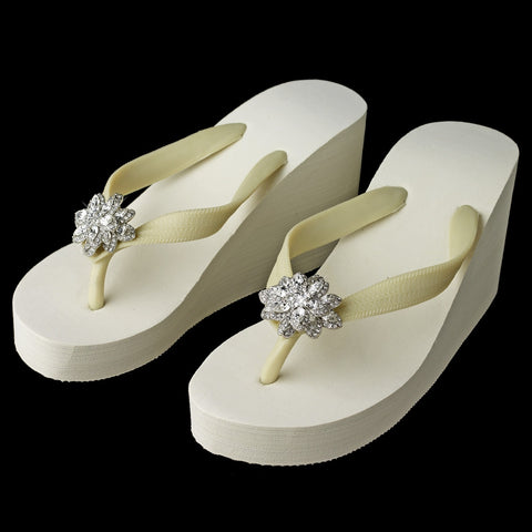 Flower Rhinestone High Wedge Bridal Wedding Flip Flops