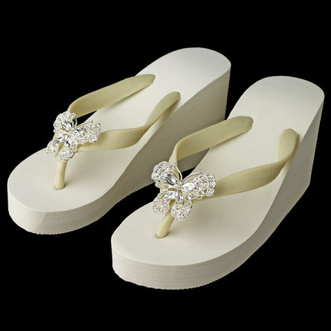 Butterfly Rhinestone High Wedge Bridal Wedding Flip Flops