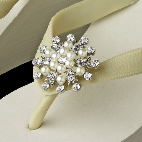 Flower Rhinestone & Pearl High Wedge Bridal Wedding Flip Flops