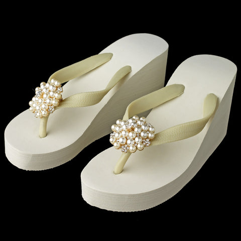 Gold Flower Cluster Rhinestone & Pearl High Wedge Bridal Wedding Flip Flops