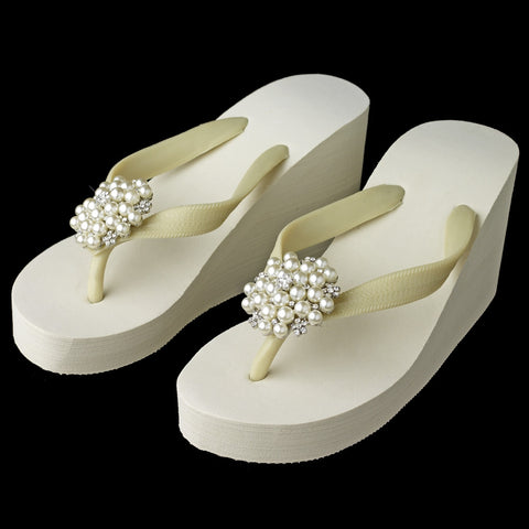 Silver Flower Cluster Rhinestone & Pearl High Wedge Bridal Wedding Flip Flops