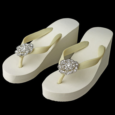 Flower Swirl Rhinestone High Wedge Bridal Wedding Flip Flops