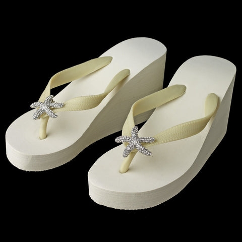 Large Silver Starfish Rhinestone High Wedge Bridal Wedding Flip Flops