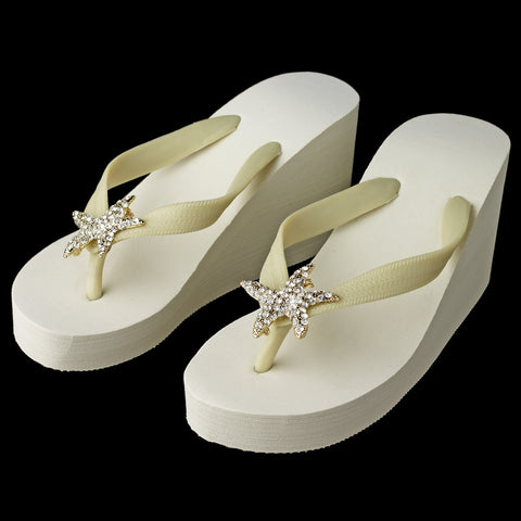Gold Starfish Rhinestone High Wedge Bridal Wedding Flip Flops