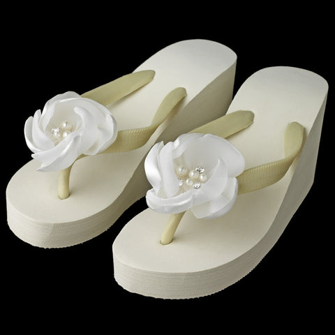 Flower High Wedge Bridal Wedding Flip Flops with Rhinestone & Pearl Accents