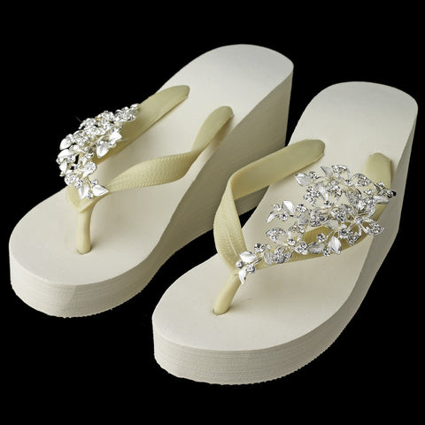 Floral Vine High Wedge Bridal Wedding Flip Flops with Rhinestone Accents