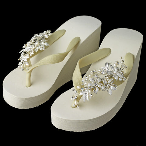 Floral Vine High Wedge Bridal Wedding Flip Flops with Rhinestone & Freshwater Pearl Accents