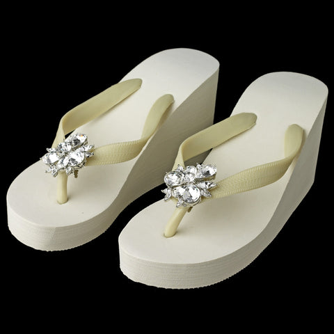 High Wedge Bridal Wedding Flip Flops with Multi Cut Rhinestone Accents