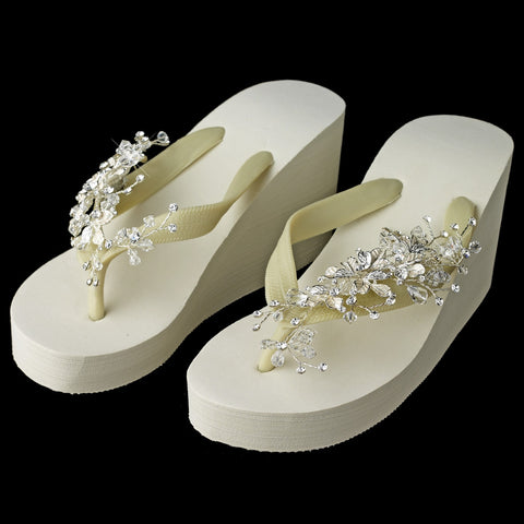 Floral Vine High Wedge Bridal Wedding Flip Flops with Crystal Accents