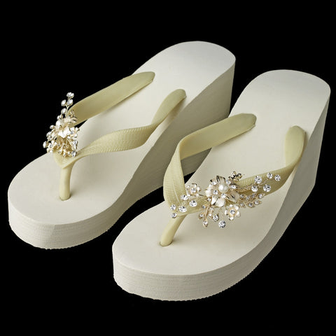 Floral Light Gold Vine High Wedge Bridal Wedding Flip Flops with Rhinestone & Pearl Accents