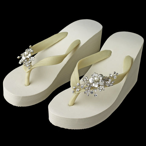 Floral Silver Vine High Wedge Bridal Wedding Flip Flops with Rhinestone & Pearl Accents