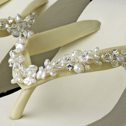 High Wedge Bridal Wedding Flip Flops with Crystal & Freshwater Pearl Accents