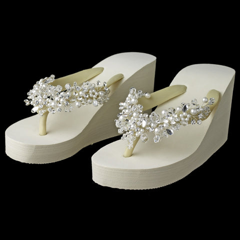 High Wedge Bridal Wedding Flip Flops with Crystal & Pearl Accents