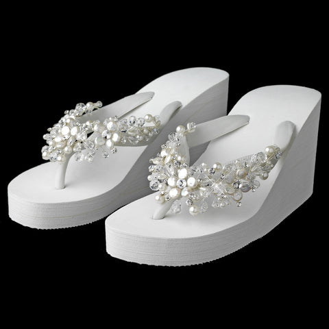 High Wedge Bridal Wedding Flip Flops with Crystal & Freshwater Coin Pearl Accents