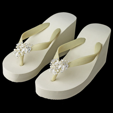 High Wedge Bridal Wedding Flip Flops with Rhinestone & Freshwater Pearl Leaf Accents