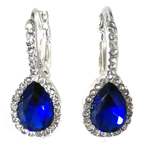 Silver Clear & Sapphire Rhinestone Drop Bridal Wedding Earrings 9896