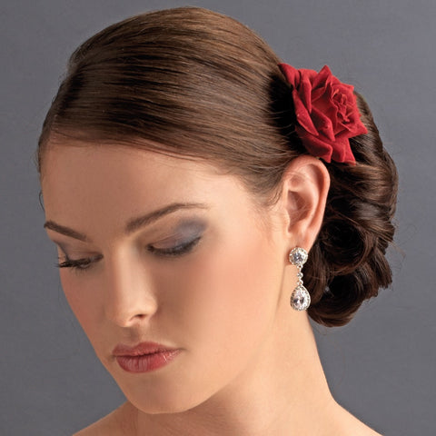 Red Rose Bridal Wedding Hair Clip for Bridal Wedding Day - Bridal Wedding Hair Clip 401 Red